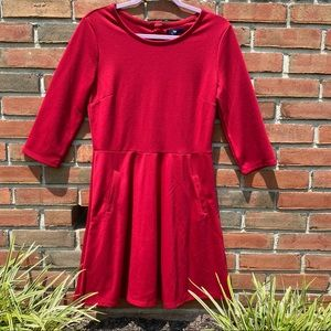 NWT Gap Red Fit & Flare Dress with Pockets Size M